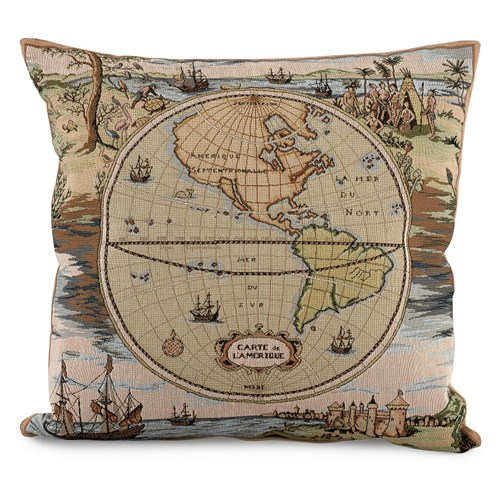World Map America Tapestry Pillow