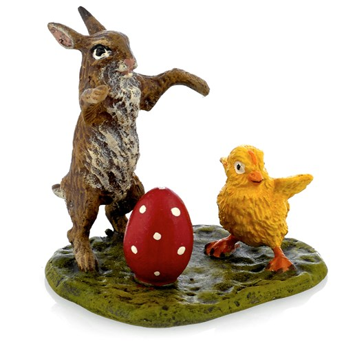 Austrian Bronze Bunny with Chick and Egg Figurine