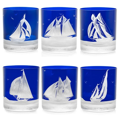 Artel Golden Age of Yachting Ink Blue Double Old Fashioned, Set of 6