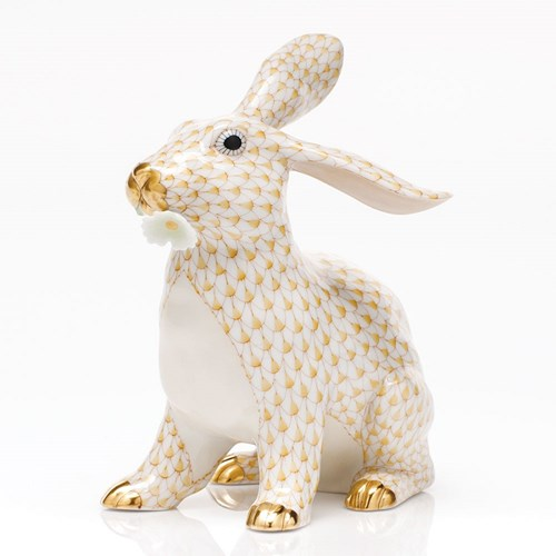 Herend Bunny with Daisy, Butterscotch