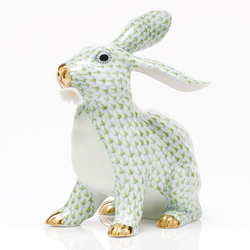 Herend Bunny with Daisy, Key Lime