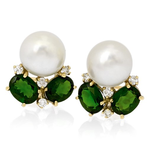 18k Gold & Diopside Pearl Top Diamond Earrings, Clips