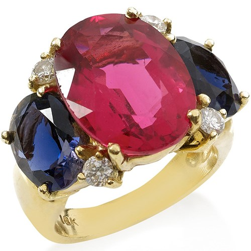 18K Gold Pink Topaz, Iolite & Diamond Ring
