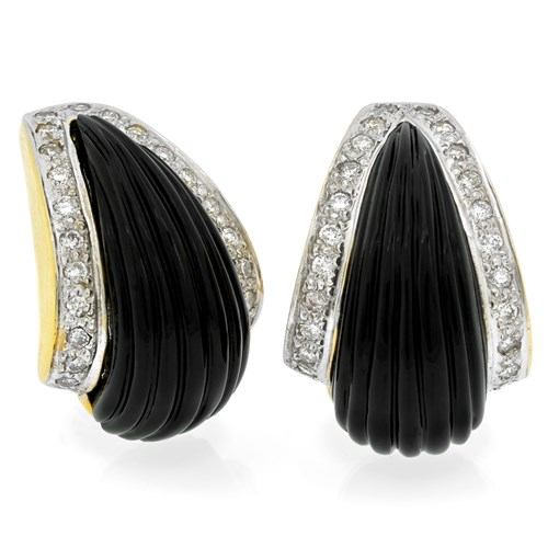 18k Onyx Point Earrings with Diamonds, Clips