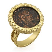 18k Yellow Gold Constantine Coin Ring