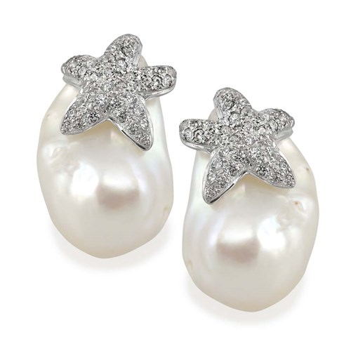 18k White Gold Diamond Starfish Baroque Pearl Earrings, Clips