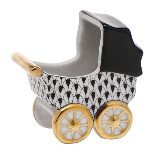 Herend Baby Carriage, Black