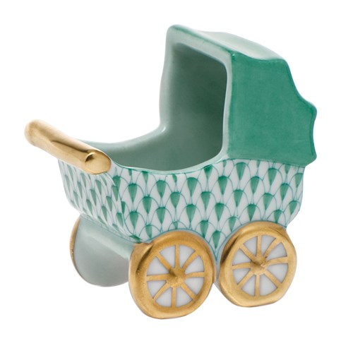 Herend Baby Carriage, Green