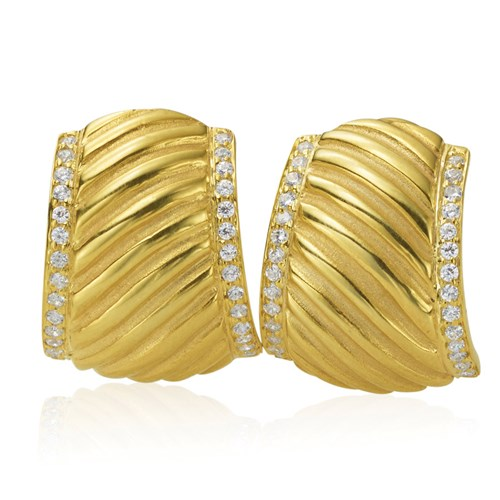 18K Fluted Yellow Gold Diamond Rim Earrings, Clips