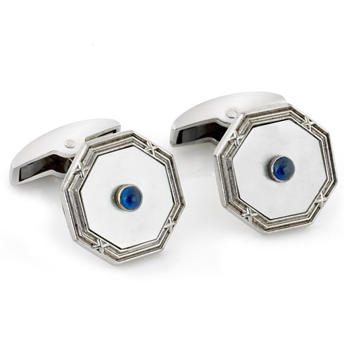 18k Octagonal White Gold Mother of Pearl Cufflinks with Sapphire