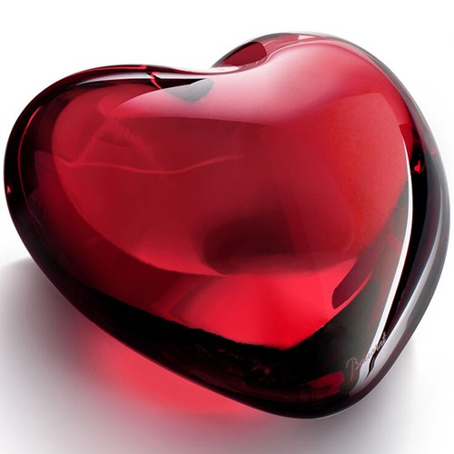 Baccarat Crystal Puffed Heart, Red