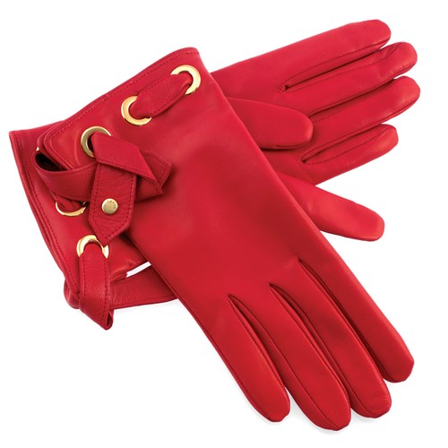 Women's Red Leather Gloves with Straps, Large