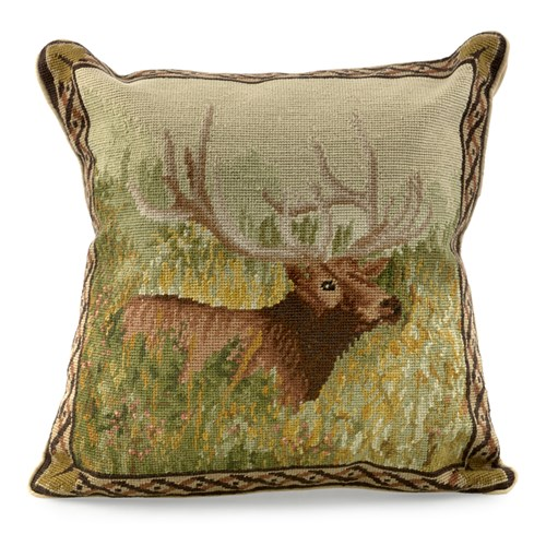 Elk in Woods Needlepoint Pillow