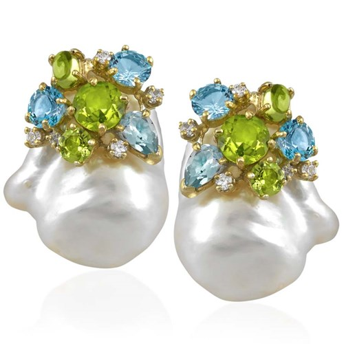 Blue Topaz & Peridot Cluster on Baroque Pearls