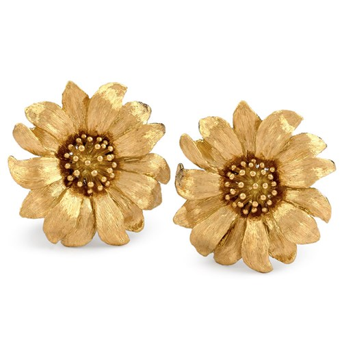 18k Yellow Gold Large Daisy Earrings, Clips