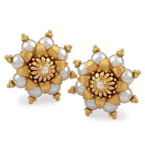 18k Yellow Gold Pearl Blossom Earrings, Clips