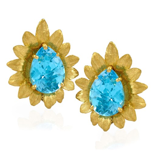 Blue Topaz Flower Earrings, Clips