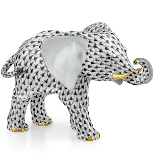 Herend Elephant with Trunk to Side, Black