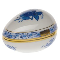 Herend Chinese Bouquet Blue Egg Shaped Bonbonniere