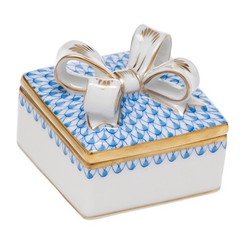 Herend Box with Bow, Blue