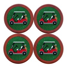 Golf Cart Needlepoint Coaster Set