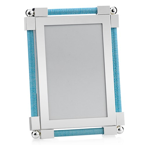"William Yeoward Classic Shagreen 4"" x 6"" Picture Frame, Light Blue"