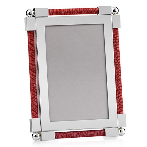 "William Yeoward Classic Shagreen 4"" x 6"" Picture Frame, Scarlet"