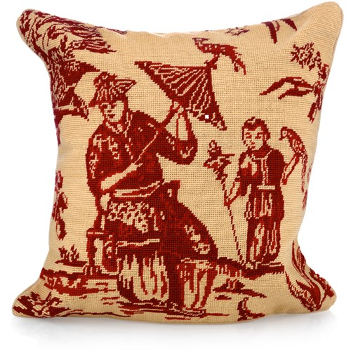 Red Chinoiserie Needlepoint Pillow, Man & Boy with Bird