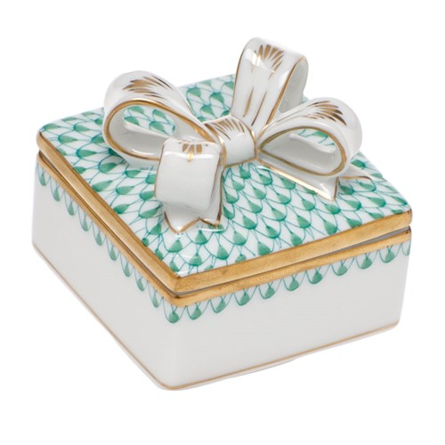 Herend Box with Bow, Green