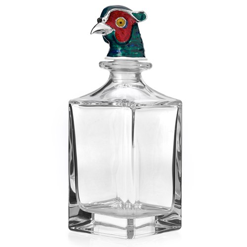 Crystal Decanter with Enamel Pheasant Head
