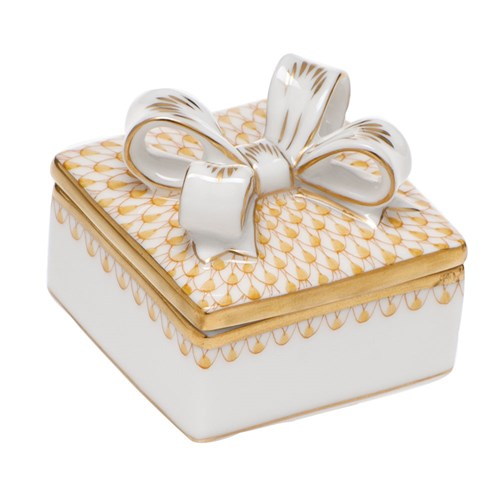 Herend Box with Bow, Butterscotch