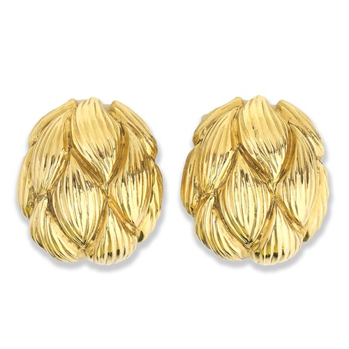 18K Yellow Gold Artichoke Earrings, Clips