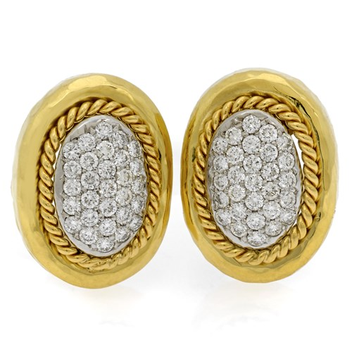 18k Gold Pave Diamond Rope Border Earrings