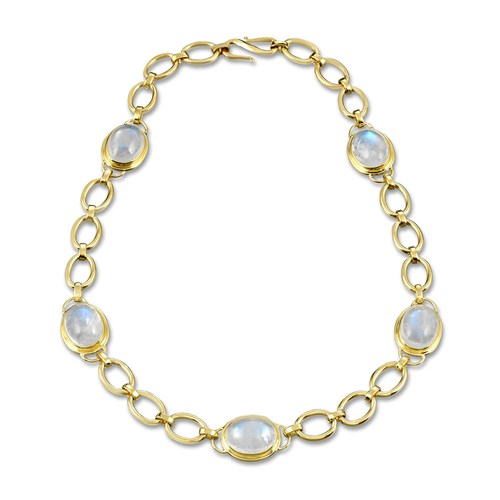 18k Gold Moonstone Oval Link Necklace