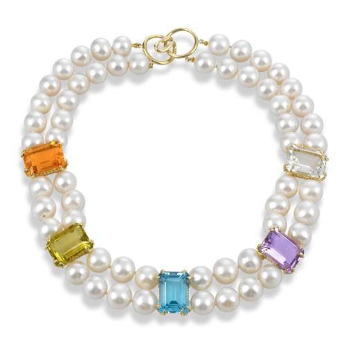 Multicolor Gemstone & Pearl Necklace