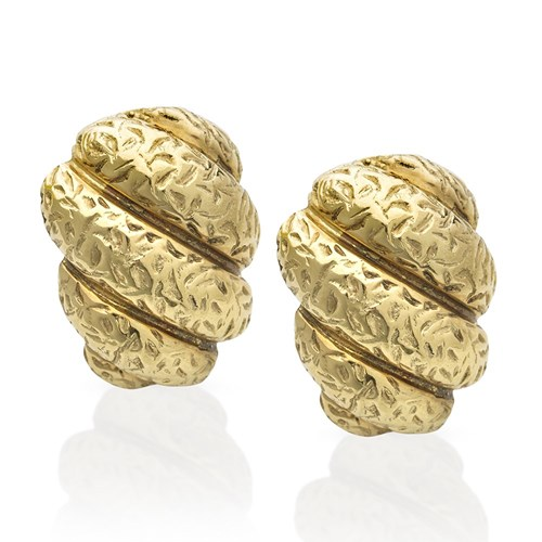 18k Gold Fluted Rag Roll Earrings, Clips