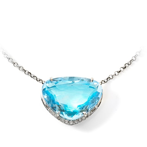 18k Gold Round Teardrop Topaz Necklace
