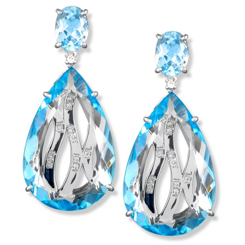 Blue Topaz Drop Diamond Weave Earrings, Posts
