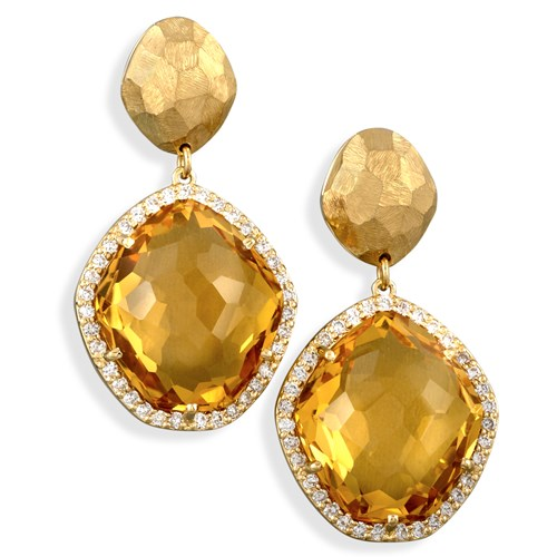18k Hammered Gold Citrine Drop Earrings, Posts