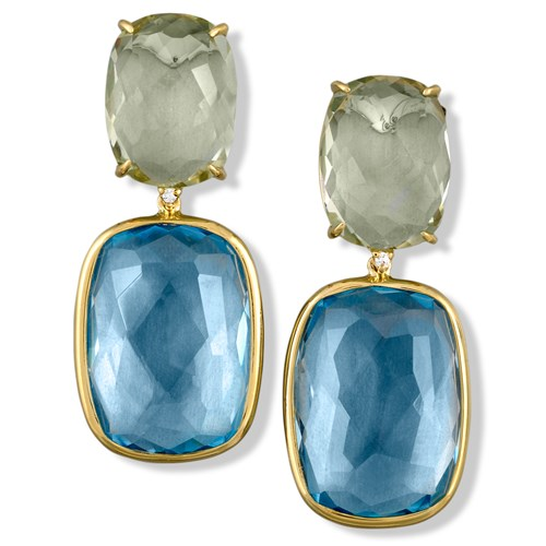 18k Gold Prasiolite on Blue Topaz Earrings with Diamonds, Posts