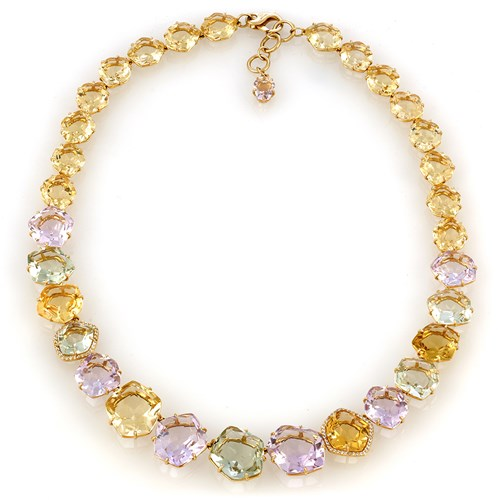 18k Fun Yellow Citrine, Pink Amethyst & Prasiolite Necklace