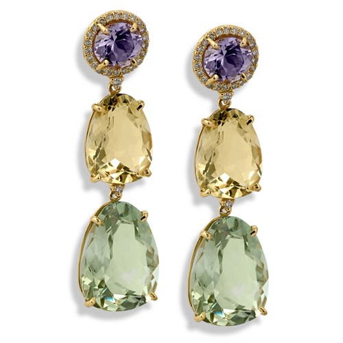 18k Gold Three Stone Drop Earrings with Diamonds, Posts