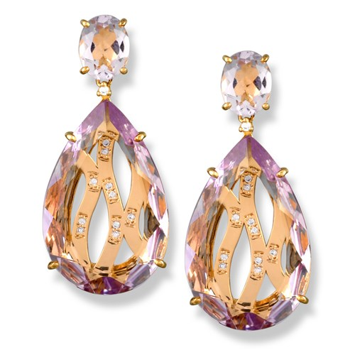 Amethyst Drop Diamond Weave Earrings, Posts