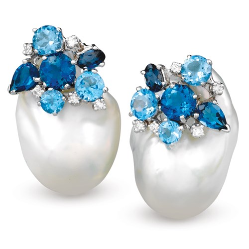 Blue Topaz and Baroque Pearl Cluster Earrings, Clips
