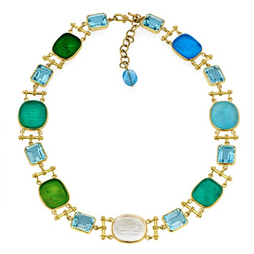 18k Yellow Gold Multicolor Venetian Glass & Blue Topaz Necklace