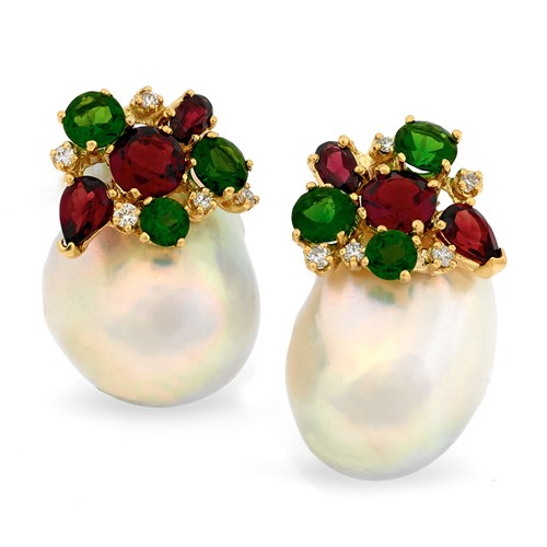 18K Yellow Gold Baroque Pearl Earrings, Clips