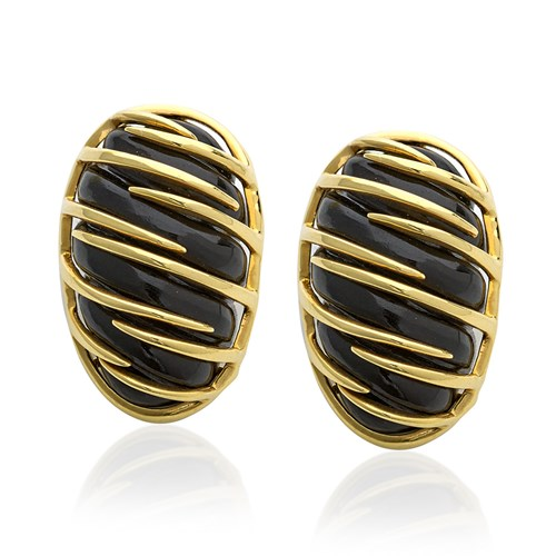 18k Gold & Onyx Cocoon Earrings, Clips