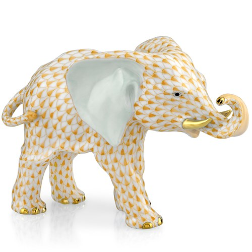 Herend Elephant with Trunk to Side, Butterscotch