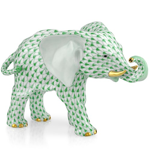 Herend Elephant with Trunk to Side, Green