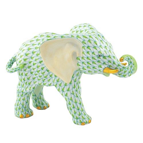 Herend Elephant with Trunk to Side, Key Lime